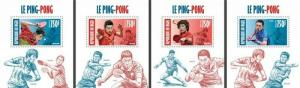 Niger - 2013 - Ping Pong - 4 Stamp Souvenir Sheets 14A-243