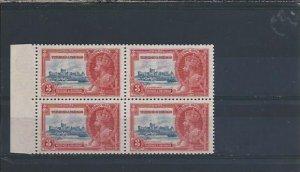 TRINIDAD & TOBAGO 1935 SJ 3c VALUE BLK OF 4 ONE EXTRA FLAGSTAFF VARIETY VLMM
