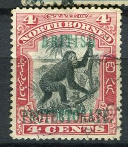 NORTH BORNEO; 1901 BRITISH PROTEC. issue fine used 4c. value + Postal cancel