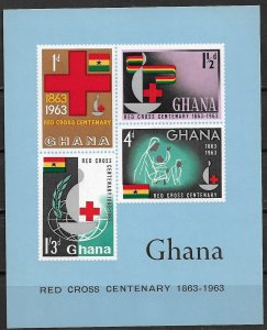 1963 Ghana #142a  International Red Cross 100th Anniversary MNH S/S