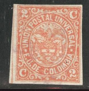 Colombia Scott 104 Used stamp 1881 crease