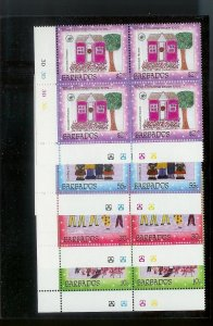 BARBADOS Sc#926-929 Complete Mint Never Hinged PLATE BLOCK Set