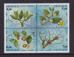 Monaco  #1943a-d  MNH 1995   jujube tree life cycle block of 4