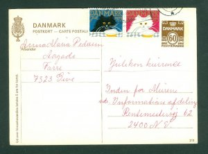 Denmark. Stationery Card,1973. With 2 Christmas Seal Cat.+ 60 Ore. Adr: Copenh.