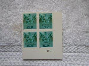 SC # 3471 A 57 CENT EAGLE SELF ADHESIVE PL. BLOCK ( MNH )