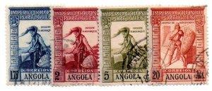 ANGOLA 287-9, 291 USED SCV $5.25 BIN $2.10 MAP, GLOBE, WARRIOR