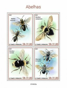 Sao Tome & Principe 2021 MNH Bees Stamps Bee Bumblebee Insects 4v M/S