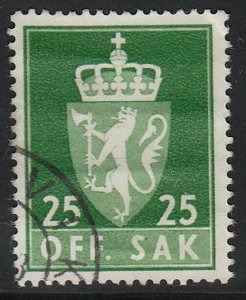 Stamp Norway Official Sc O069 1955 Dienst Coat Arms Used