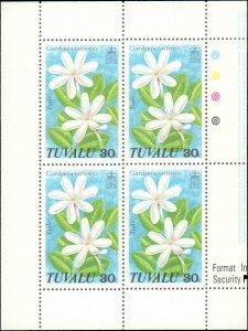 Tuvalu #92-95, Complete Set(4), Blocks of 4, 1978, Flowers, Never Hinged