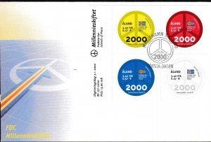 Aland 2000 New Millennium Block (4) Scott 161  Clean Unaddressed First Day Cover