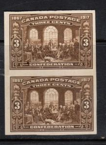 Canada #135a Extra Fine Mint Imperf Pair Unused (No Gum) As Issued