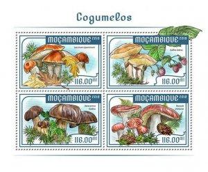 Mozambique Mushrooms Stamps 2018 MNH Fungi Leccinum Nature 4v M/S