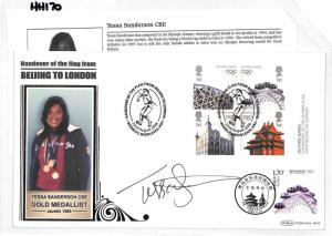 HH170 GB 2008 Tessa Sanderson Olympic Gold Medal Javelin Signed Cover PTS