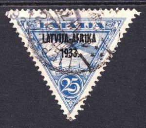 LATVIA C5 LATVIJA-AFRIKA 1933. OVERPRINT DISTINCT CDS VF SOUND