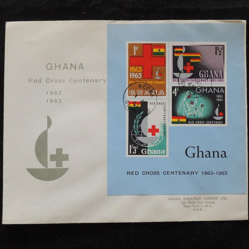 ZS-U626 RED CROSS - Ghana, 1963 Fdc, 100Th Anniversary, Imperf. Sheet Cover