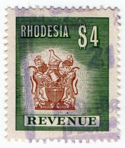 (I.B) Rhodesia Revenue: Duty Stamp $4 (1970)