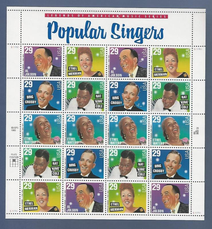 SCOTT #2853a...POPULAR SINGERS...PANE OF 20 (29c) STAMPS MNH  (wacered)