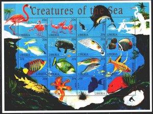 Liberia. 1998. Small sheet 1974-89. Fish, flamingos, fauna. MNH.