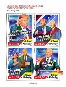 Sao Tome & Principe Joe Biden Stamps 2020 MNH US Elections Donald Trump 4v M/S