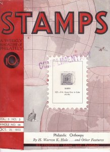 Stamps Weekly Magazine of Philately October 21, 1933 Stamp Collecting Magazine