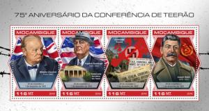 MOZAMBIQUE - 2018 - Tehran Conference, 75th Anniv - Perf 4v Sheet - MNH