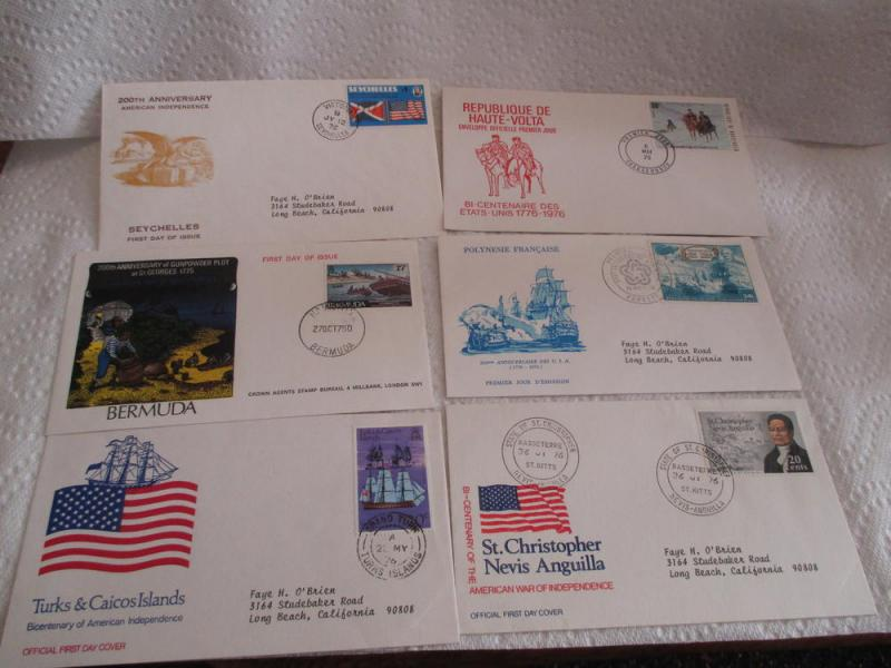 FOREIGN FIRST DAY COVER COLLECTION 1976 US BICENTENNIAL 90 DIFFERENT FDCS  $90