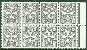 MALTA : 1962. Stanley Gibbons #D24a Blackish Brown. Block of 8. VF MNH Cat £224.
