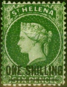St Helena 1864 1s Deep Yellow-Green SG17 Type A Fine & Fresh Mtd Mint