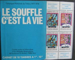 France 1977 Christmas Seal Booklet Le Souffle Cest La Vie