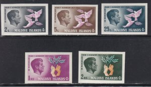 Maldive Islands # 159-163, John F. Kennedy, Imperf Set, NH