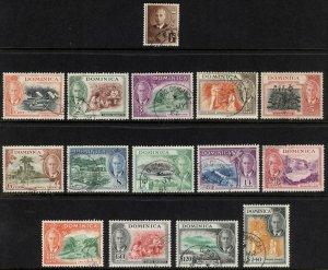 Dominica 1951 1/2c-$2.40 Pictorial SG 120-134, Scott 122-136 VFU Cat £90($121)