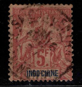 French Indo-China Scott 21 used 1896 5 Franc Navigation & Commerce sealed tear