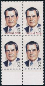 #2955a  BLK/4 WITH RED OMITTED RICHARD NIXON ON BOTTOM 2 STAMPS ERROR WL2700