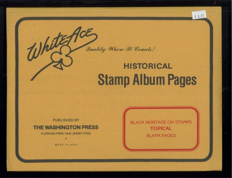White Ace Stamp Album Pages Black Heritage Topical Blank Pages Pack of 12