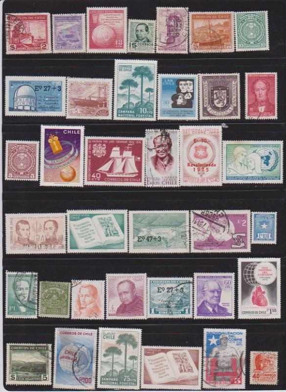 LOT OF DIFFERENT STAMPS OF CHILI USED (37) LOT#130