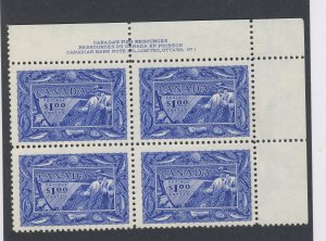 4x Canada $1.00 Stamps Plate block #1 of #302-$1.00 Fish Guide Value = $250.00