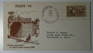 SOJEX Convention Atlantic City NJ 1958 Batsto Blast Furnace Philatelic Expo