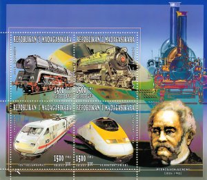 Madagascar 1996 Sc#1321  Trains-Eurostar-W.von Siemens Sheetlet (4)  MNH