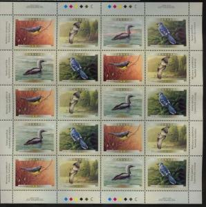 Canada #1842a Mint Imprint Sheet of 20 Face $9.20 - VF-NH 2000 Birds of Canada
