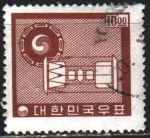 South Korea. 1962. 360 from the series. Ancient drums, musical instrument. USED.