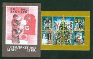 Denmark.  Booklet  1993  Christmas Seals  Mnh. Mailbox. Christmas Tree