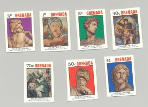 Grenada 1975 Michelangelo, Art, 7v imperf essays, unissued designs