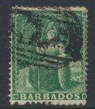 Barbados SG 17 SC# 13 Used  Deep Green perf 14-16  see scans and details