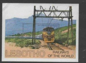 LESOTHO #458 1984 RAILWAYS, TRAINS MINT VF NH O.G S/S