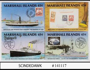 MARSHALL ISLANDS - 1989 POSTAL SERVICE CENTENARY / SHIPS  - SE-TENANT 4V MNH