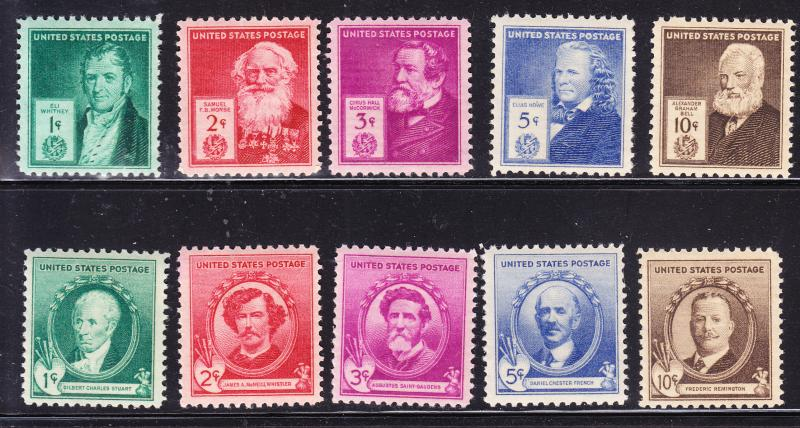 U.S. Famous Americans Issue of 1940 Complete Set (35) VF/NH(**)