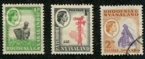 Rhodesia & Nyasaland SC# 158-60 Industries MH & Used