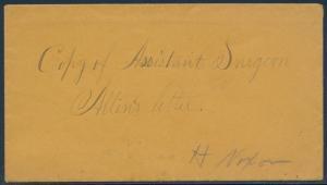COPY OF ASSISTANT SURGEON ALLEN'S LETTER 1864 H. NIXON ON COVER W/ ENCL. BU1609
