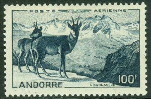 EDW1949SELL : FRENCH ANDORRA 1950 Scott #C1 Animals. Very Fine, Mint OG. Cat $87