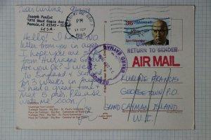 Grand Cayman Islands postal marking unclaimed return sender postcard 1988